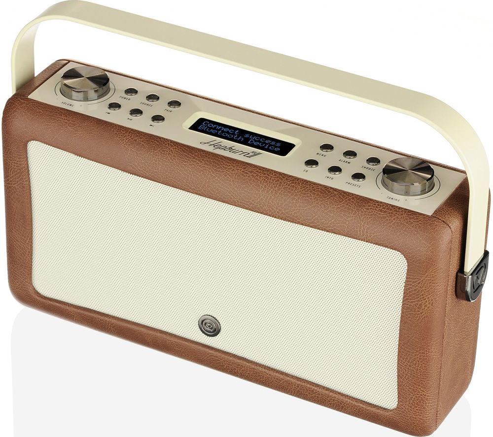 Image of VQ Hepburn Mk II Portable DAB+/FM Bluetooth Clock Radio - Brown, Brown
