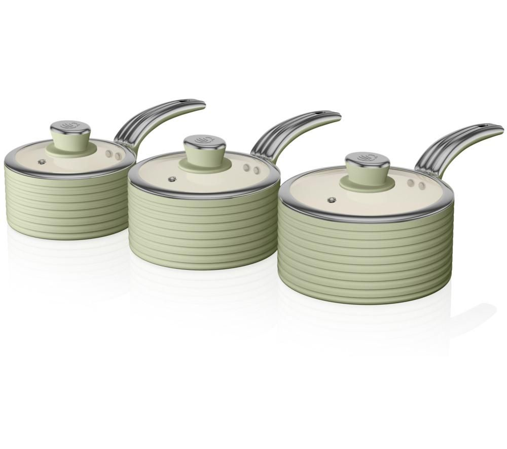 SWAN Retro SWPS3020GN 3-piece Non-Stick Saucepan Set - Green