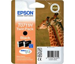 EPSON Giraffe T0711H Black Ink Cartridges - Twin Pack