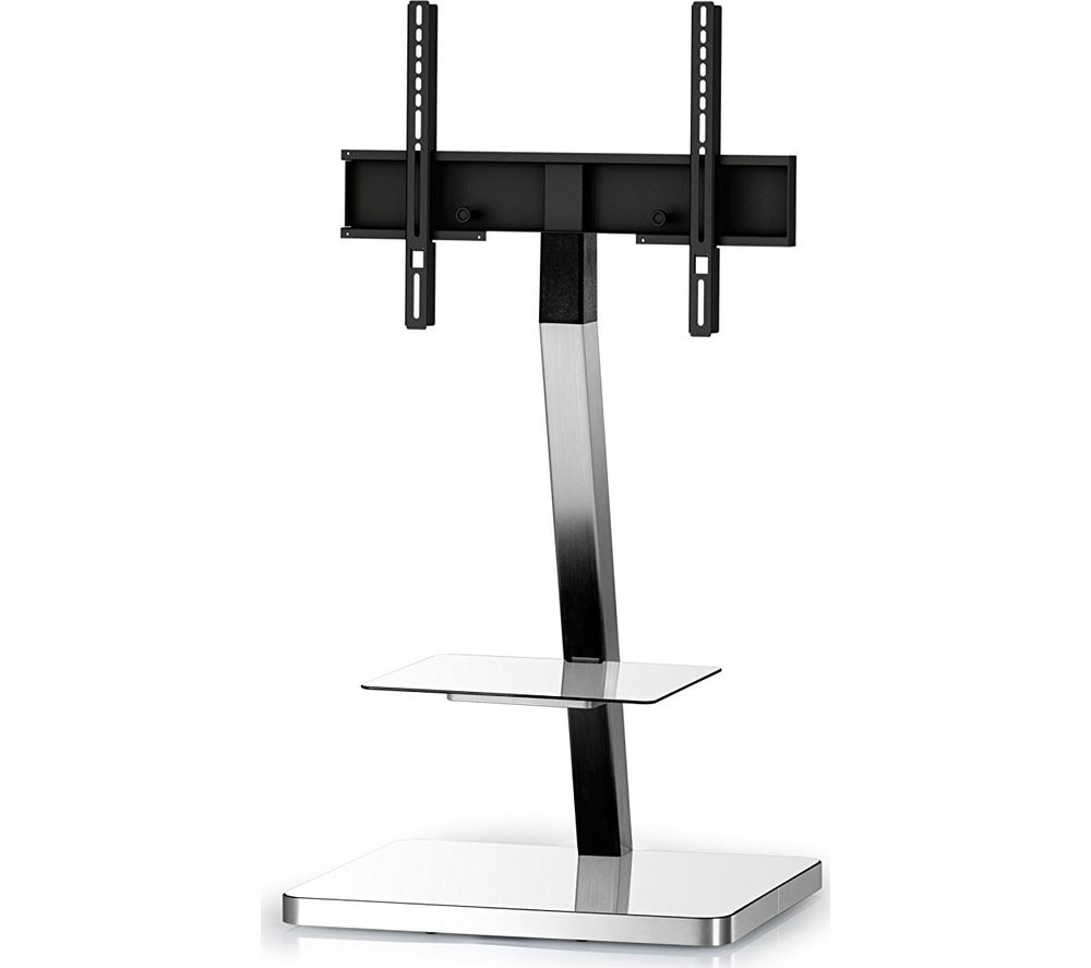 Image of SONOROUS PL2710-WHT-SLV 600 mm TV Stand with Bracket - White & Silver, White