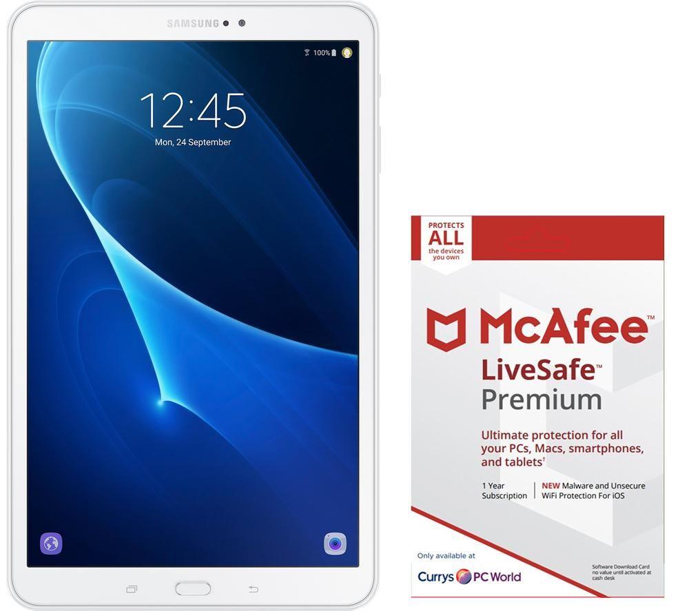 buy samsung galaxy tab a 10 1 tablet mcafee livesafe premium bundle white free delivery. Black Bedroom Furniture Sets. Home Design Ideas