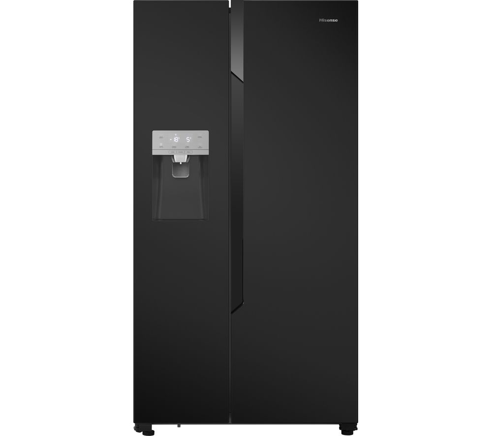 HISENSE American-Style Fridge Freezer Black RS694N4TB1, Black
