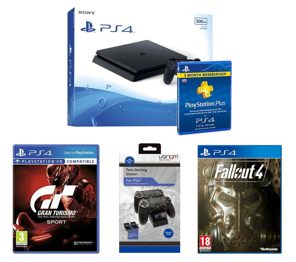 Image of SONY PlayStation 4 Slim, Gran Turismo Sport, Fallout 4, Twin Docking Station & PlayStation Plus Bundle, Petrol