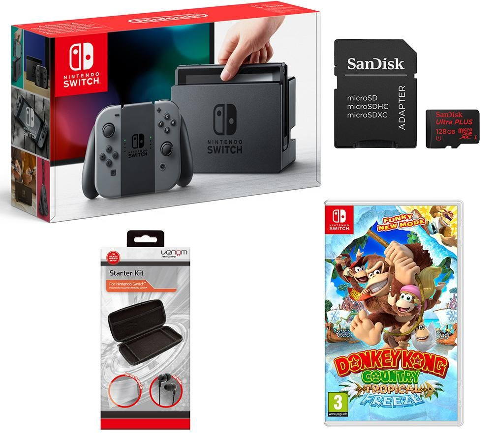 Buy Nintendo Switch Donkey Kong Country Tropical Freeze Bundle Red Blue 2games 2amiibo 128 Gb Memory Card Vs4793