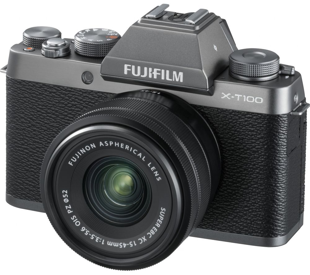 FUJIFILM X-T100 Mirrorless Camera with FUJINON XC 15-45 mm f/3.5-5.6 OIS PZ Lens - Dark Silver + Extreme Plus Class 10 SDXC Memory Card - 64 GB + Toploader 45 AW II DSLR Camera Case - Black