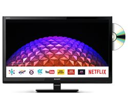 "SHARP LC-24DHG6001KF 24"" Smart LED TV with Built-in DVD Player"
