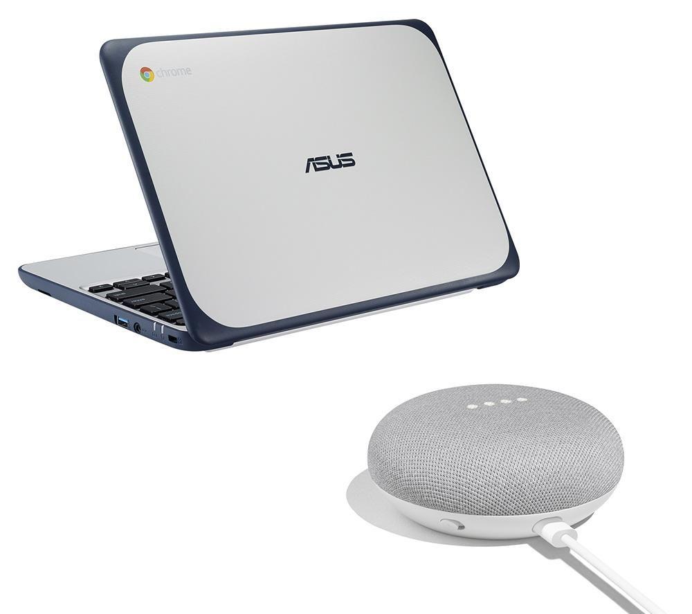 "C202 11.6"" Chromebook & Google Home Mini Bundle - White & Blue"