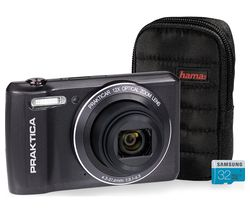 Luxmedia Z212-LE Compact Camera, Case & 32 GB MicroSD Memory Card Bundle - Graphite