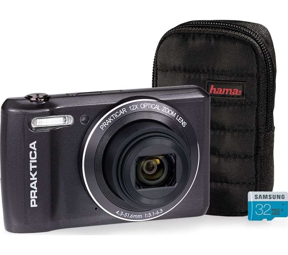 Click to view product details and reviews for Praktica Luxmedia Z212 Le Compact Camera Case 32 Gb Microsd Memory Card Bundle Graphite Graphite.