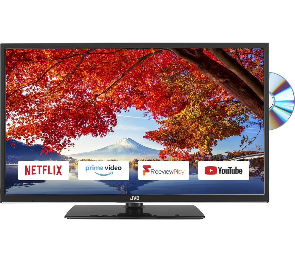 "Image of 32"" JVC LT-32C695 Smart LED TV with Built-in DVD Player, Gold"