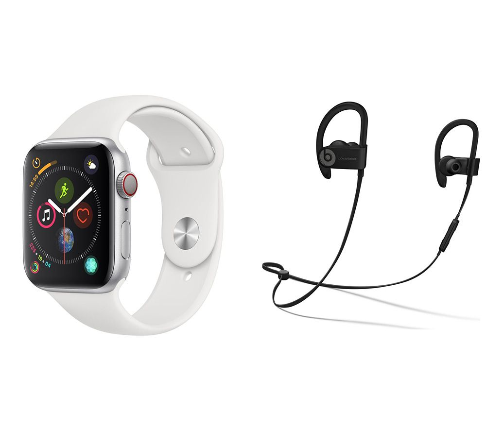 APPLE Watch Series 4 Cellular & Beats Powerbeats3 Wireless Bluetooth Headphones Bundle - Silver & White Sports Band, 44 mm, Silver cheapest retail price