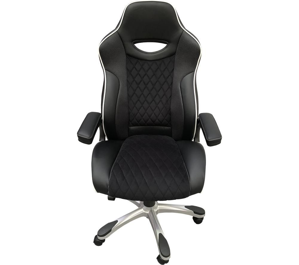 ALPHASON Silverstone Faux-Leather Tilting Executive Chair - Black & White