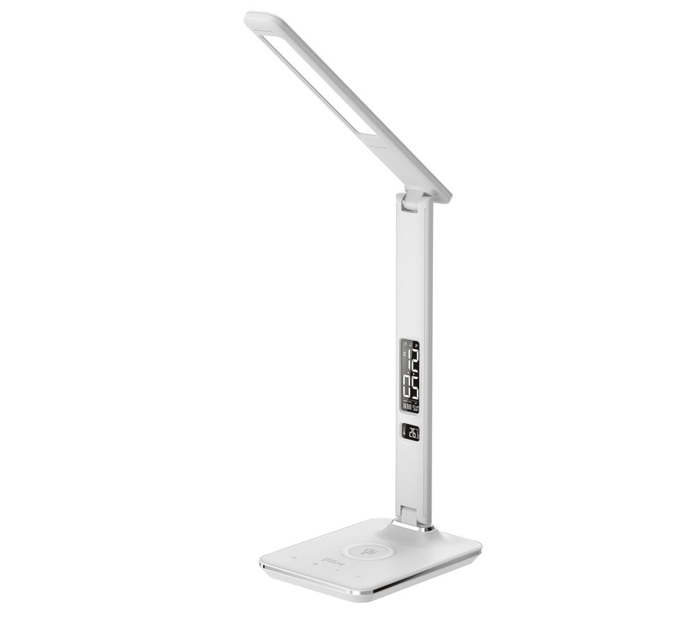 Image of GROOV-E Ares LED Desk Lamp with Wireless Charging Pad & Clock - White, White