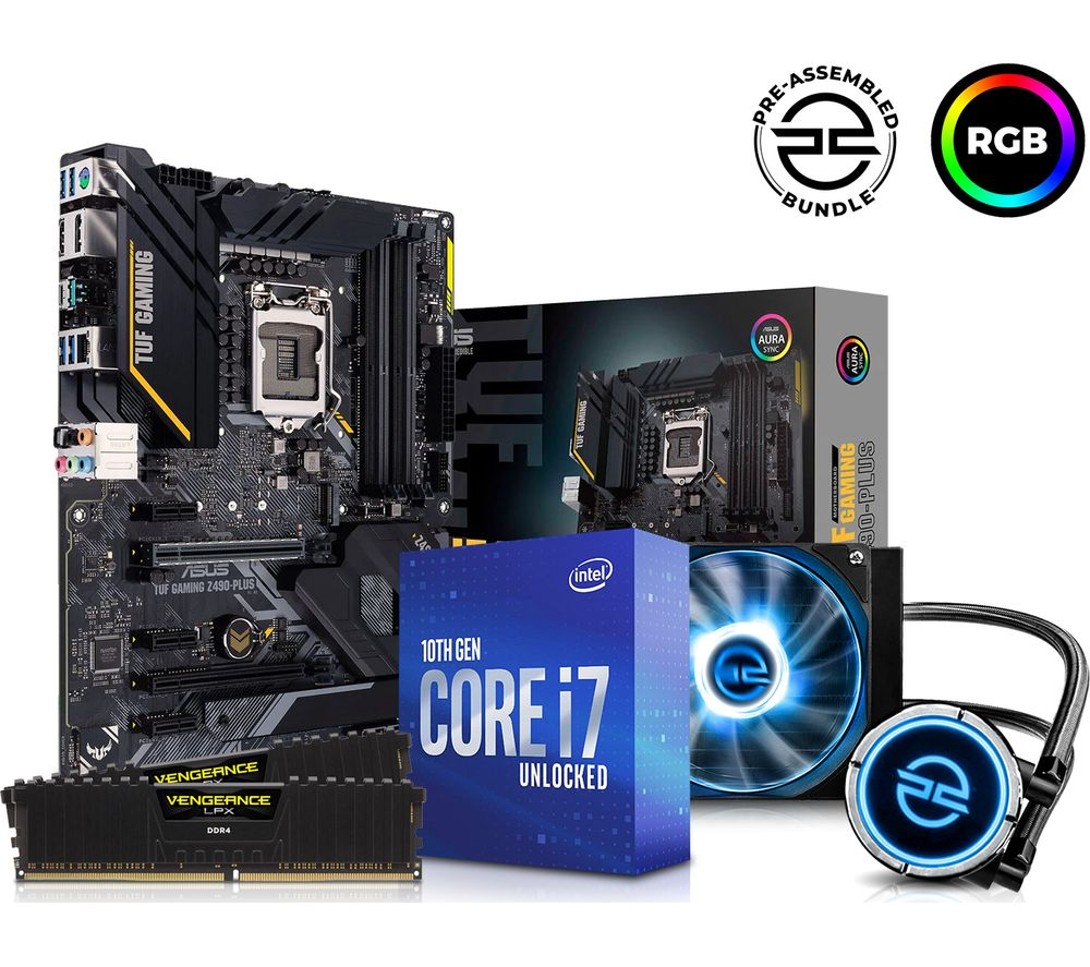 PC SPECIALIST Intel® Core i7 Processor, TUF GAMING Motherboard, 16 GB RAM & FrostFlow Liquid Cooler Components Bundle