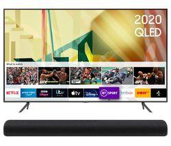 SAMSUNG QE85Q70TATXXU 85' Smart 4K Ultra HD HDR QLED TV & HW-S60T/XU 4.0 All-in-One Sound Bar Bundle Best Price, Cheapest Prices