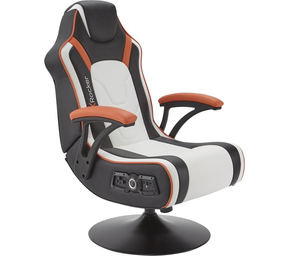 X ROCKER Torque 2.1 Wireless Gaming Chair - Black, White & Orange, Black