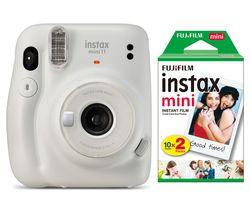 mini 11 Instant Camera & 20 Shot Instax Mini Film Pack Bundle - Ice White