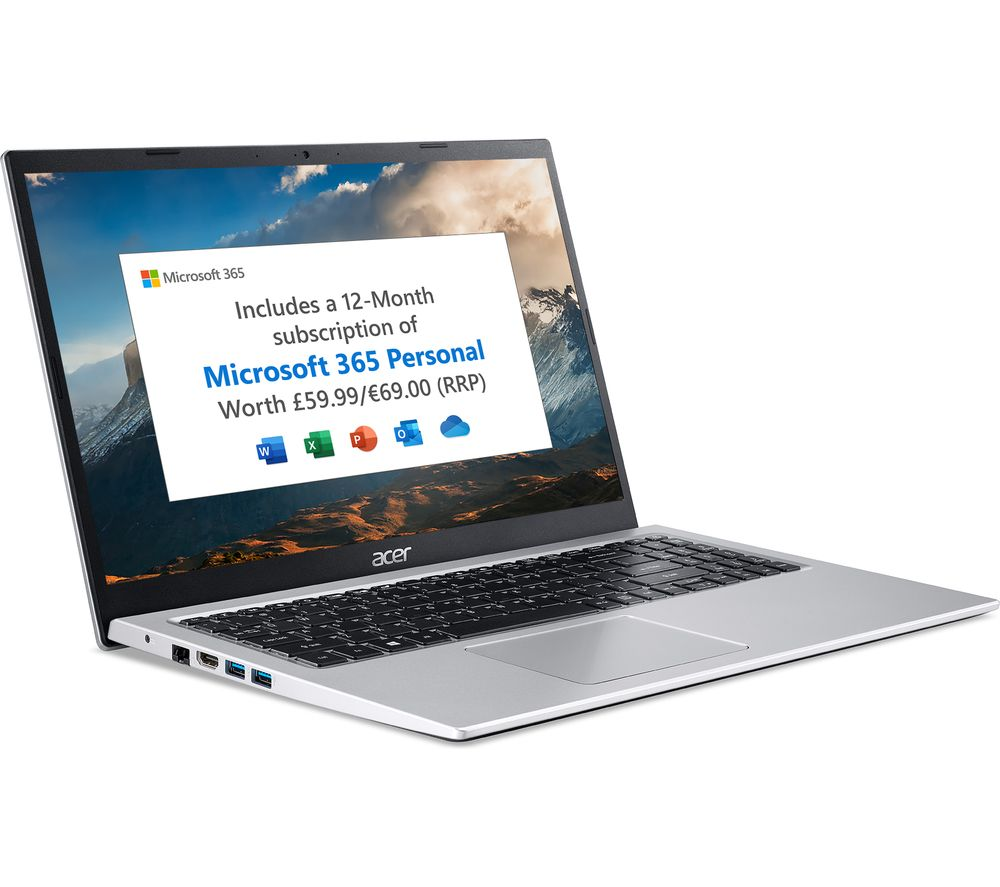 """Image of ACER Aspire 3 15.6"""" Laptop - Intel®Pentium Silver, 128 GB SSD, Silver, Silver"""