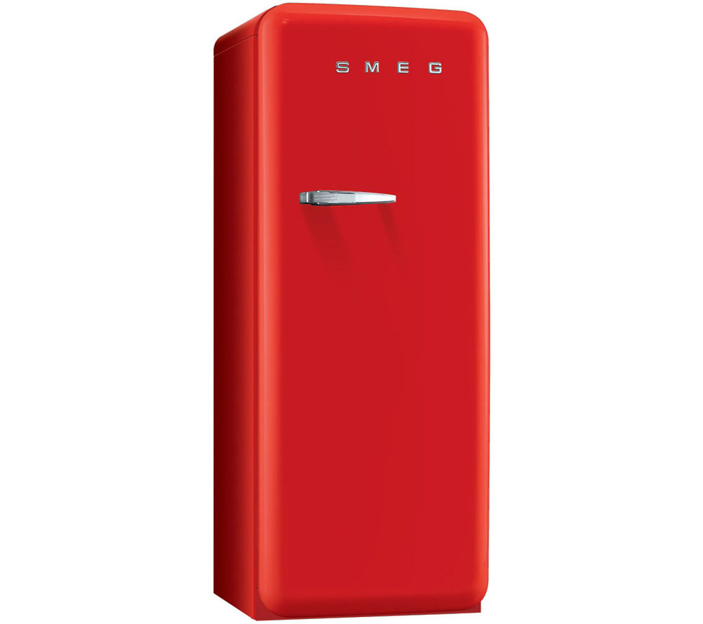 SMEG FAB28QR1 Tall Fridge - Red + GTN38250HGCB Heat Pump Tumble Dryer - Black