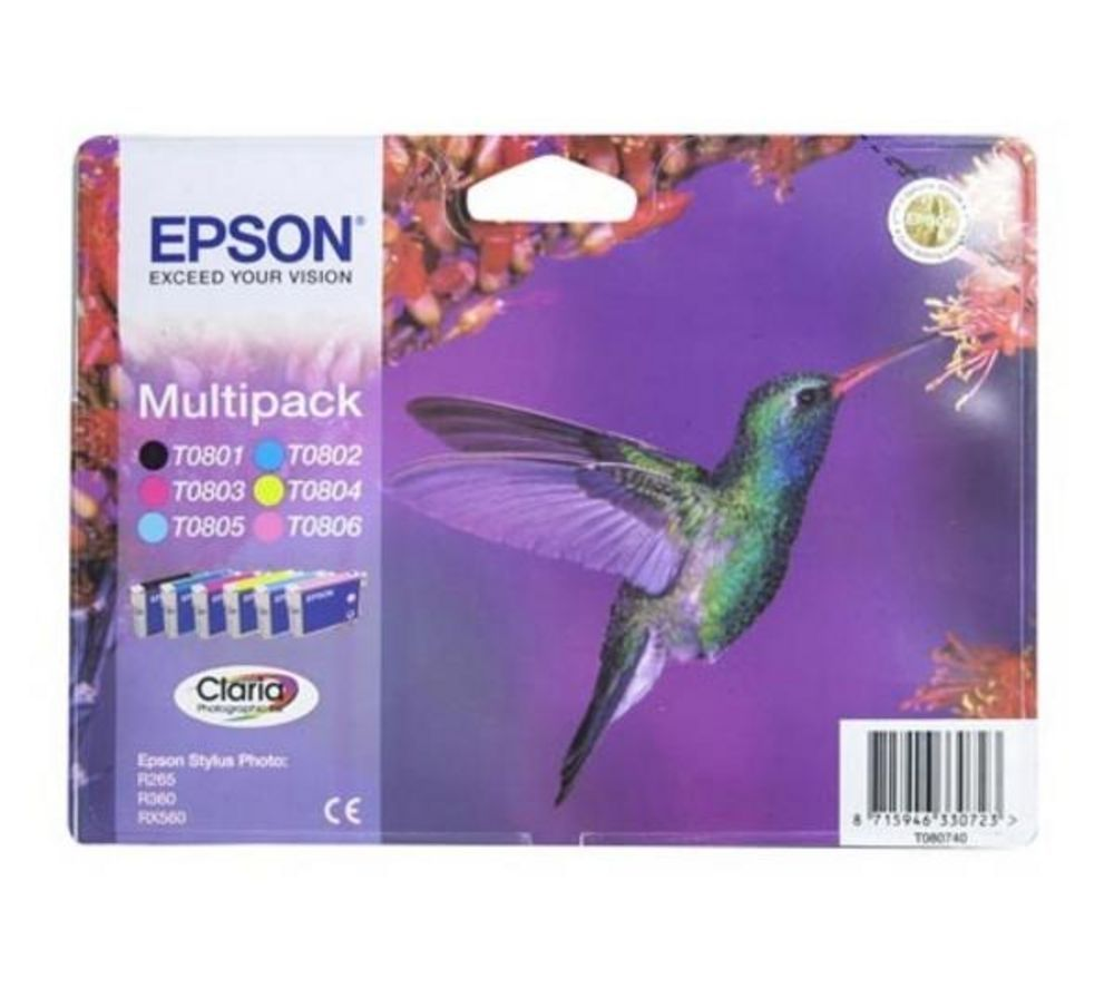 Image of EPSON Hummingbird T0807 6-colour Ink Cartridges - Multipack, Cyan