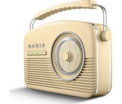 AKAI Portable DAB+/FM Retro Bluetooth Clock Radio - Cream