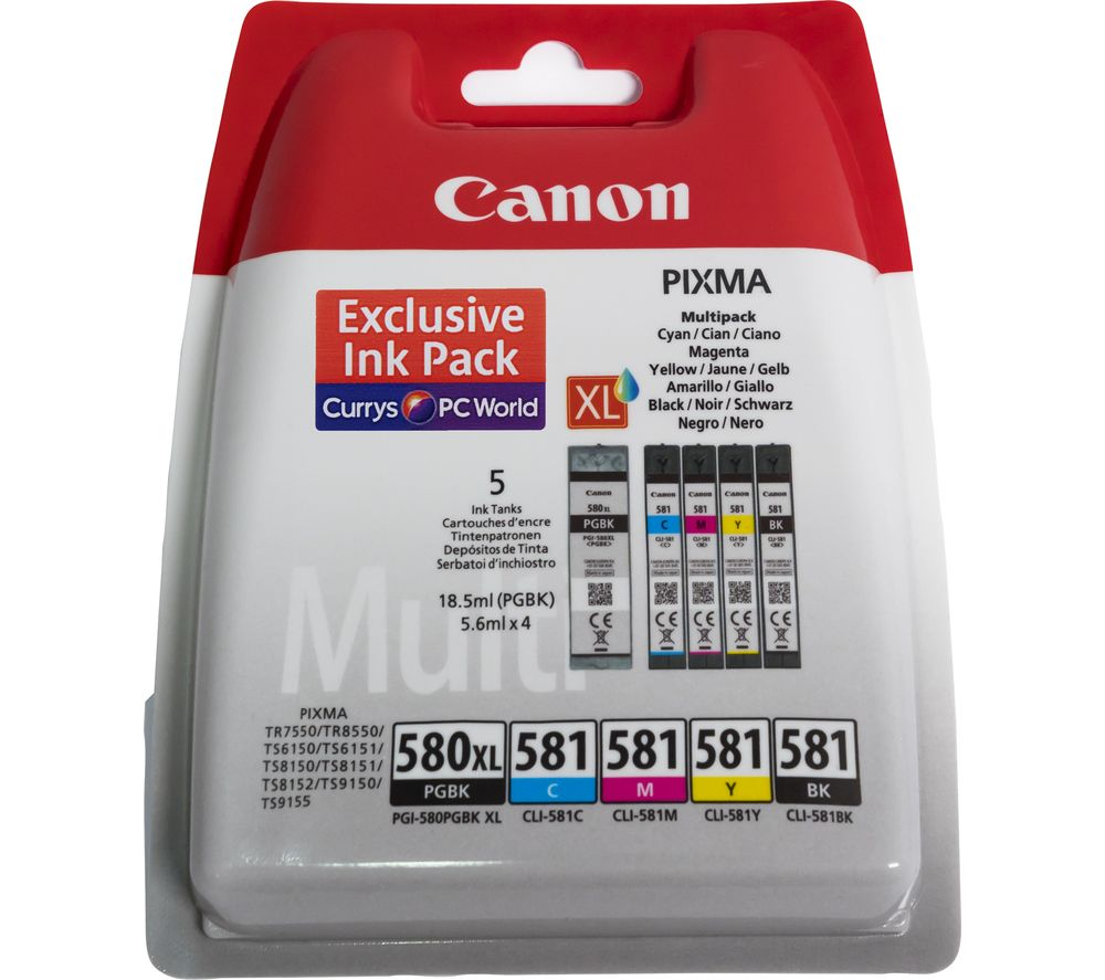 CANON PGI-580XL / CLI-581 Cyan, Magenta, Yellow & Black Ink Cartridges - Multipack