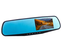 CO-PILOT CPDVR3 Rear View Mirror Dual Dash Cam - Black
