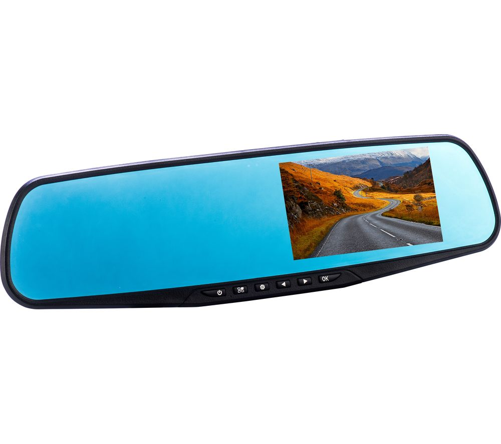 CO-PILOT CPDVR3 Rear View Mirror Dual Dash Cam - Black, Black