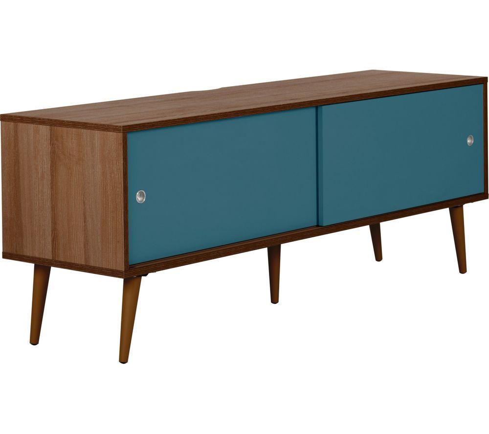 Image of OUTLINE Retro 1400 mm TV Stand - Walnut & Blue, Blue
