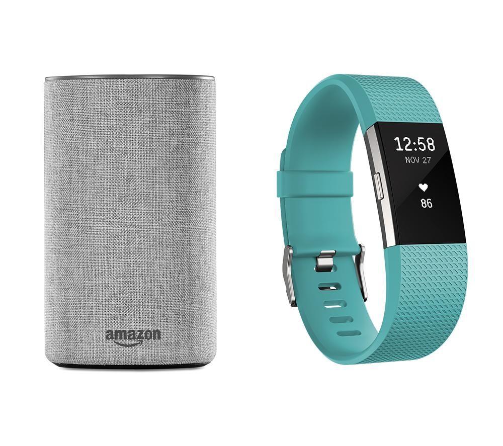 FITBIT Charge 2 (Teal, Small) & Amazon Echo (Heather Grey) Bundle
