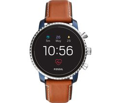 FOSSIL Explorist HR FTW4016 Smartwatch - Blue & Silver, Leather Strap
