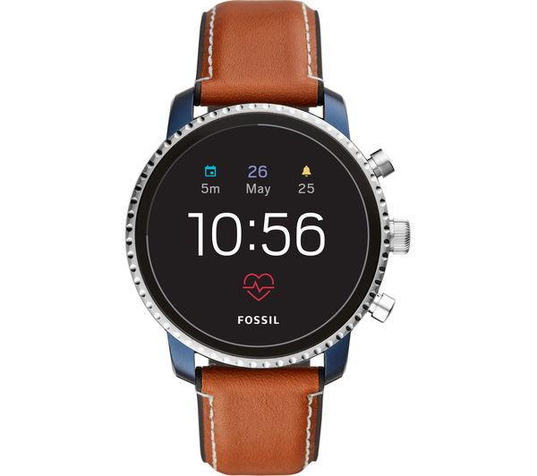 Image of FOSSIL Explorist HR FTW4016 Smartwatch - Blue & Silver, Leather Strap