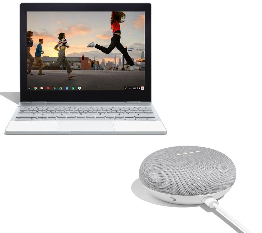 """Image of GOOGLE Pixelbook 00123 12.3"""" 2 in 1 Chromebook with Home Mini Bundle - Silver, Silver"""