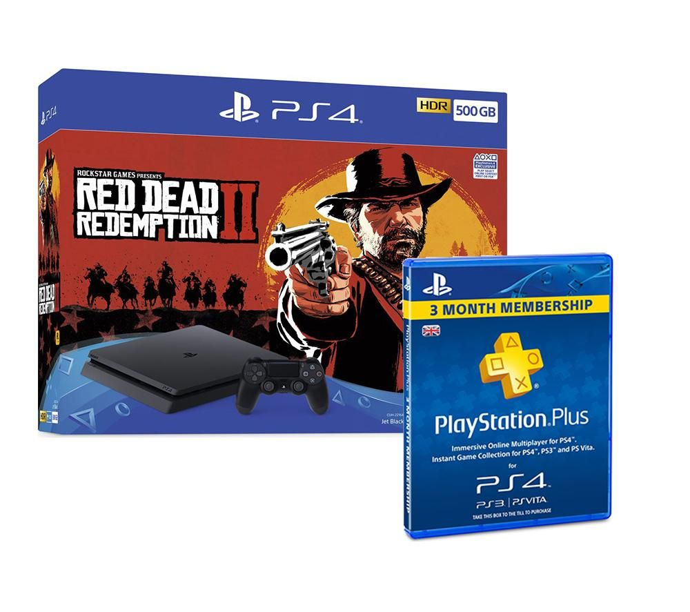 PlayStation 4 500 GB, Red Dead Redemption 2 & PlayStation Plus Bundle, Red