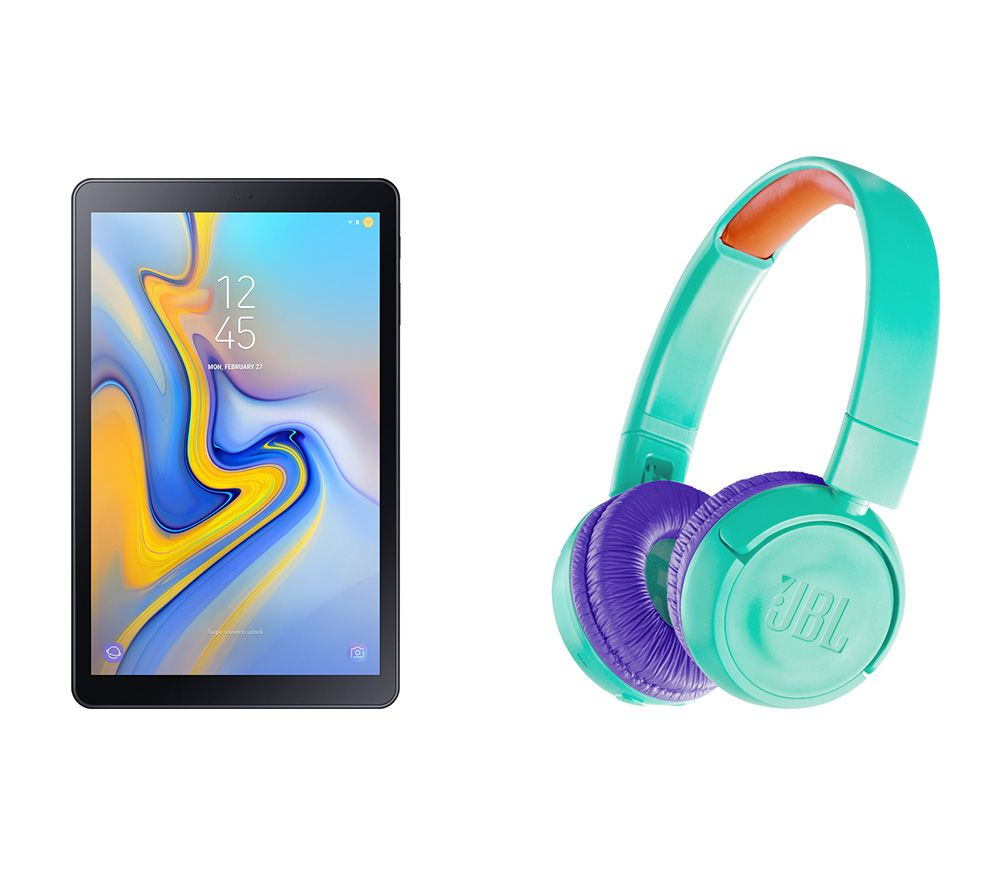 "Image of SAMSUNG Galaxy Tab A 10.5"" Tablet & JR300BT Wireless Bluetooth Kids Headphones Bundle - 32 GB, Black, Black"