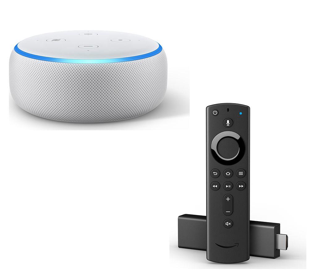 AMAZON Echo Dot (2018) & Fire TV Stick with Alexa Voice Remote Bundle - Sandstone