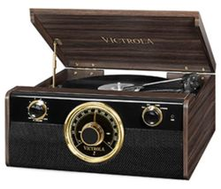 Empire Junior VTA-240-MAHEU 4-in-1 Belt Drive Bluetooth Music Centre - Mahogany
