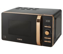 TOWER T24021 Solo Microwave - Black & Rose Gold Best Price, Cheapest Prices