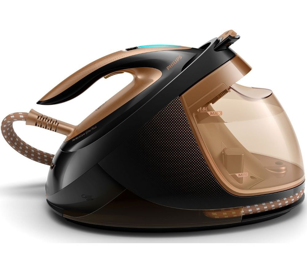 Philips PerfectCare Elite Plus Steam Generator Iron for Large Family Basket Loads, with OptimalTEMP: No Fabric Burns Guaranteed, 8 Bar, 600 g Steam Boost - Black/Gold - GC9682/86