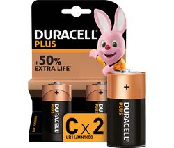 DURACELL LR14/MN1400 C Plus Batteries - Pack of 2