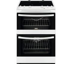 ZANUSSI ZCV66030WA 60 cm Electric Ceramic Cooker - White & Black Best Price, Cheapest Prices