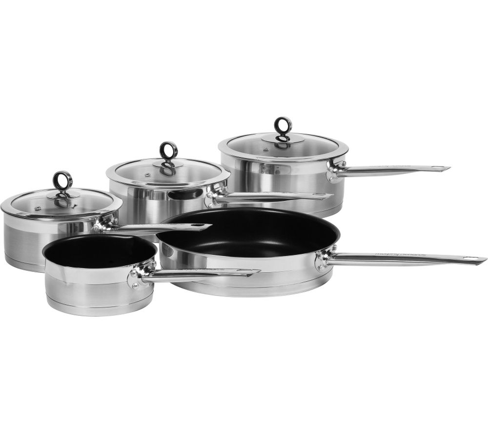 Image of MORPHY RICHARDS 46415 5 Piece Non-stick Pan Set - Stainless Steel, Stainless Steel