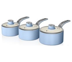 SWAN Retro SWPS3020BLN 3-piece Non-stick Saucepan Set - Blue