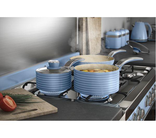 Swan Retro Swps3020bln 3 Piece Non Stick Saucepan Set Blue