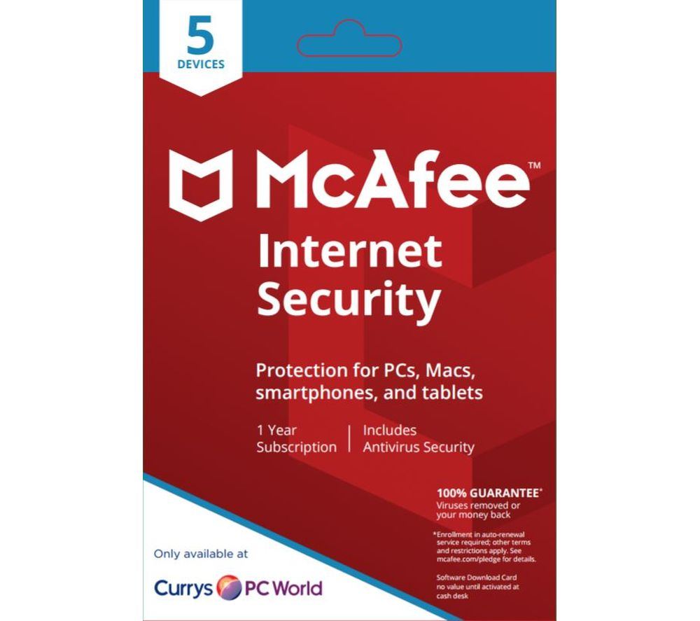 MCAFEE Internet Security 2018 - 1 year for 5 devices