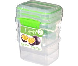 Fresh Rectangular 0.4 litre Containers - Green, Pack of 3