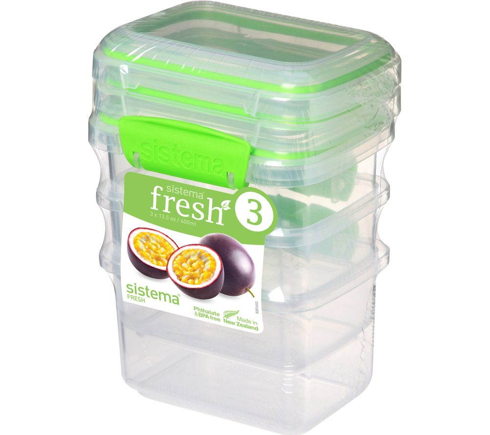 SISTEMA Fresh Rectangular 0.4 litre Containers - Green, Pack of 3