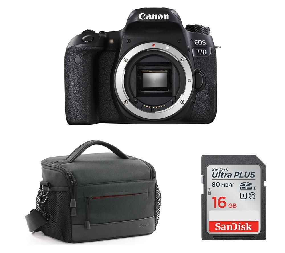 Compare prices for Canon EOS 77D DSLR Camera Memory Card and Bag Bundle