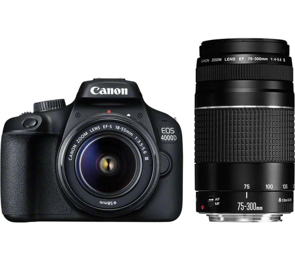 CANON EOS 4000D DSLR Camera with EF-S 18-55 mm f/3.5-5.6 III & EF 75-300 mm f/4-5.6 III Lens