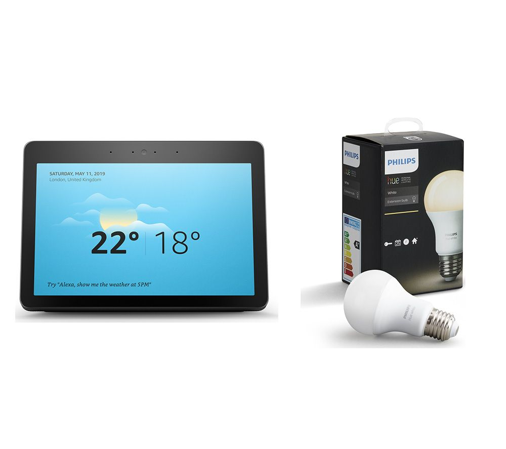 AMAZON Echo Show (2018) & E27 Hue White Smart LED Bulb Bundle - Black